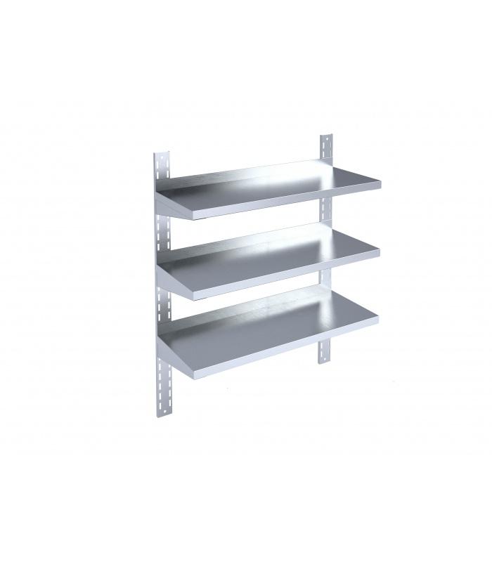 Adjustable wall-mounted shelf with reinforced brackets