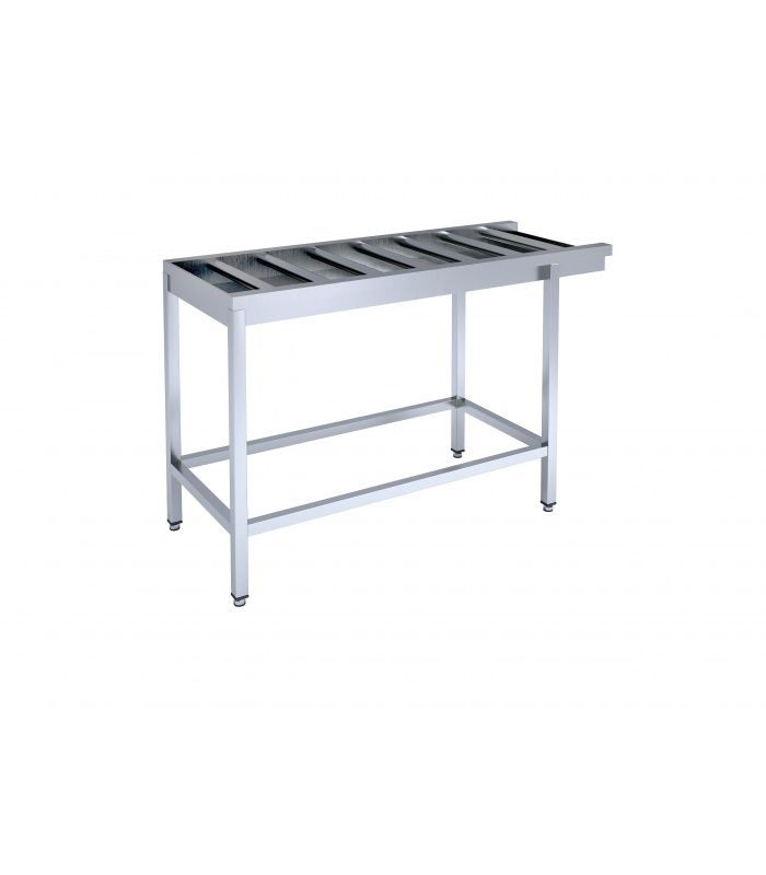 Framed table with rollers for dishwashing machine