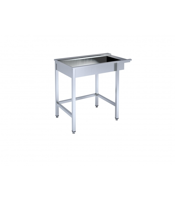 Framed table with basin for dishwashing machine